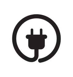 Flat icon in black and white power socket vector