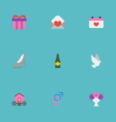Flat icons pigeon posy sandal elements vector