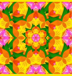 Flower mandala seamless pattern ethnic oriental vector