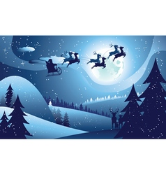 Flying Santa and Winter Forest vector