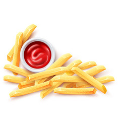 French fries ketchup tomato vector