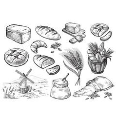Fresh bread set vector