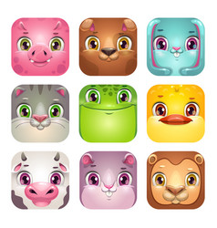 Funny cartoon square animal faces app icons set vector