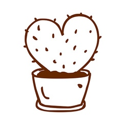 Hand Drawn Love Heart Cactus vector image