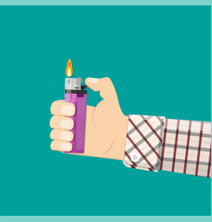 hand holding plastic lighter vector image