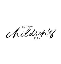 happy children day lettering vector image