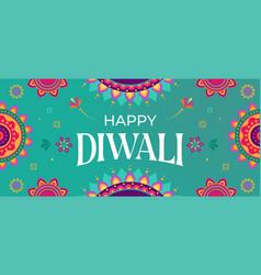 happy diwali hindu festival banner greeting card vector image