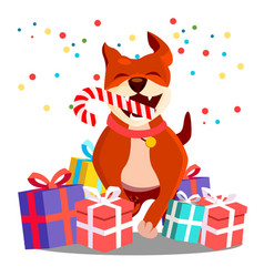 happy dog with christmas candy in teeth among vector image