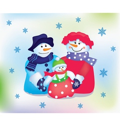Happy snowman family vector image