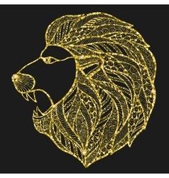Head roaring lion style zentangle vector image