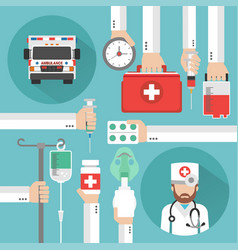 Healthcare flat design with ambulance and doctor vector