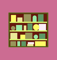 Icon in flat design bookshelf vector