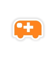 Icon sticker realistic design on paper ambulance vector