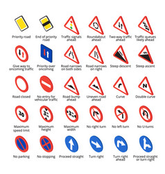 Isometric european traffic signs vector