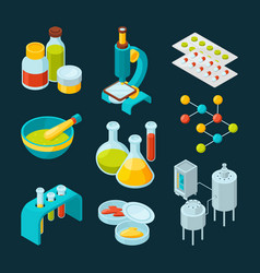 Isometric icons set of pharmaceutical industry and vector