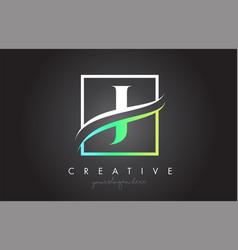J letter logo design with square swoosh border vector