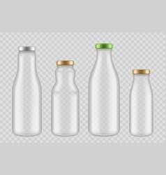 jar glass bottles transparent packages for drinks vector image