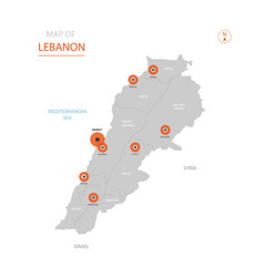 lebanon map with administrative divisions vector image