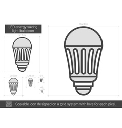 LED energy saving light bulb line icon vector image
