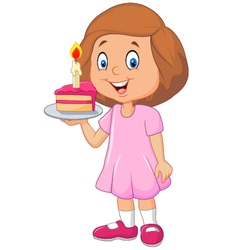 Little girl holding birthday cake isolated vector