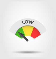 Low level risk gauge icon low fuel on gray vector