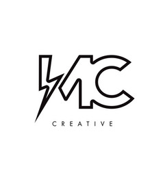 Mc letter logo design with lighting thunder bolt vector