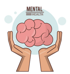 Mental health hand with human brain design vector