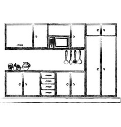Monochrome sketch of modern kitchen cabinets vector