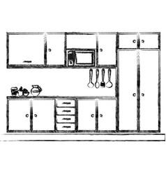 Monochrome sketch of modern kitchen cabinets vector