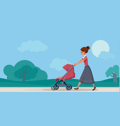 mother with bain pram walking in park vector image