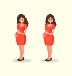 motherhood pregnant woman posing happy expectant vector image