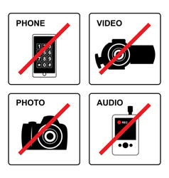No recording Signs vector image