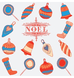 Noel card Christmas decorations vector image