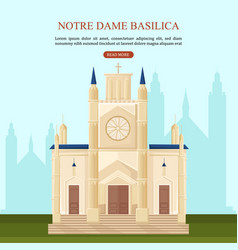 notre dame basilica in paris architecture vector image