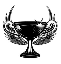 olympic cup with wings monochrome vector image