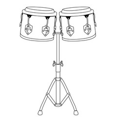 Pair of drums outline vector