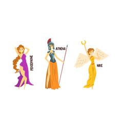 Persephone athena nike olympian greek gods set vector