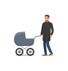 Pram with newborn child and father isolated vector