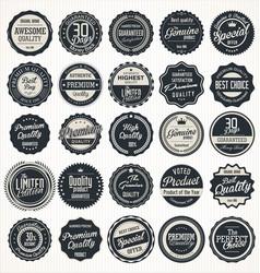 Premium quality retro vintage dark blue labels vector