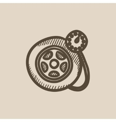 Pressure gauge tyre sketch icon vector