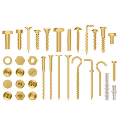 realistic golden hardware construction gold metal vector image