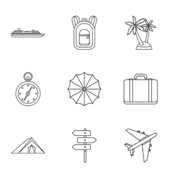 Rest on sea icons set outline style vector