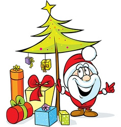 Santa claus standing by christmas tree with many vector