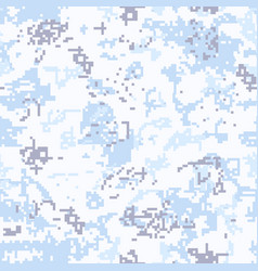 Seamless snow camouflage of pixel pattern vector