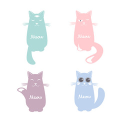 set cartoon images cute cats vector image