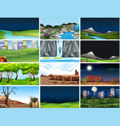 Set nature landscape vector