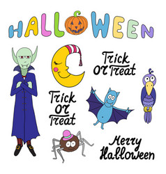 set of cartoon halloween characters and words vector image