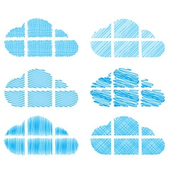 set of clouds in the form of windows with vector image