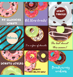 set of donuts with glaze vector image