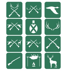 Set of hunting emlem and ecvipment icons vector